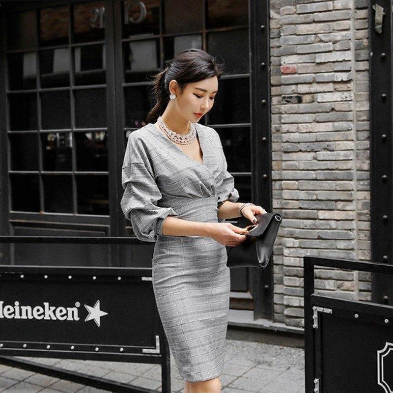 Frühlings-neue Frauen-elegante Laterne-Hülsen-Plaid V-Ausschnitt, Büro-Damen Knielange Kleider Sexy Slim Fit-Verpackungs-Kleid-Weiß-Sommer-Spitze Dres 0mY2 #
