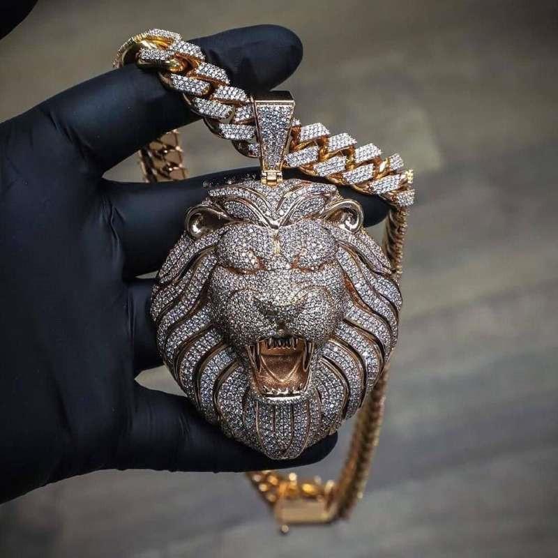 Catena Big Pendenti Mens gioielli Hip Hop dal design di lusso della collana di diamante di Bling Leone Animal Rapper Accessori DJ