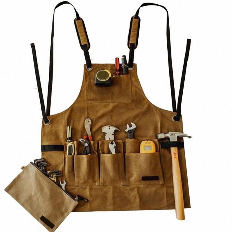 Economico Grembiule Tasche multiple Collector Canvas Olio Cera panno Strumenti bagagli grembiule impermeabile per il cuoio barbecue uomini Ds99 Grembiuli Nail un pXER #