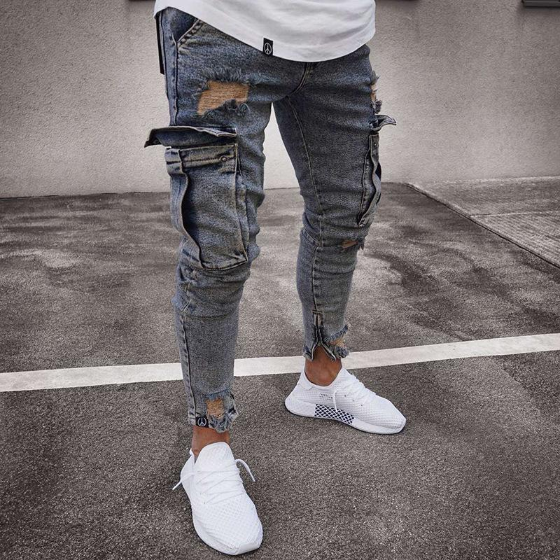 Jeans 2019 uomo pocket Jeans Slim Moda Hiphop Jeans