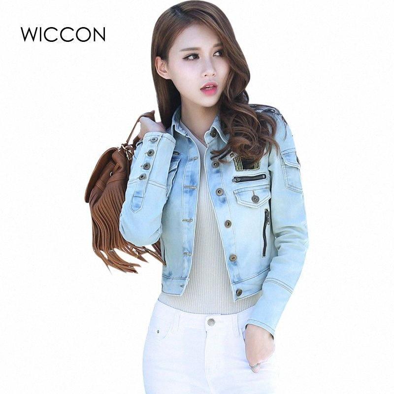 Herbst-Patchwork-Denim-Jacken Damen-Weinlese-beiläufige Grund Mantel weibliche dünne Jean-Jacke Frauen-England-Art Bomberjacken WICCON Wtsg #