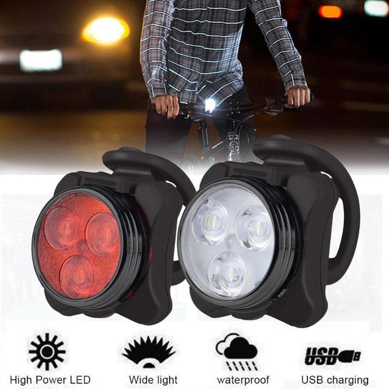 Bisiklet Işıkları Bisiklet Işık Su Geçirmez 3 LED Kafa Ön 4 Modları USB Şarj Edilebilir Kuyruk Klipsi Lamba Güvenlik Uyarı