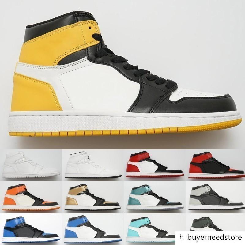 Mahkeme Mor Çam Yeşil Orta OG 1 3 erkekler kadınlar basketbol ayakkabıları 1s Chicago Royal Blue spor ayakkabı 5,5-13 Bred Banned