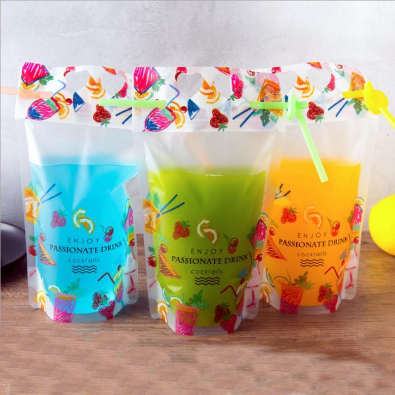 500 ml de boisson créative lait de lait à main sac à main debout sac boutique cadeau emballage sac de goûter snack snack plastique sac d'impression emballage 100 pcs