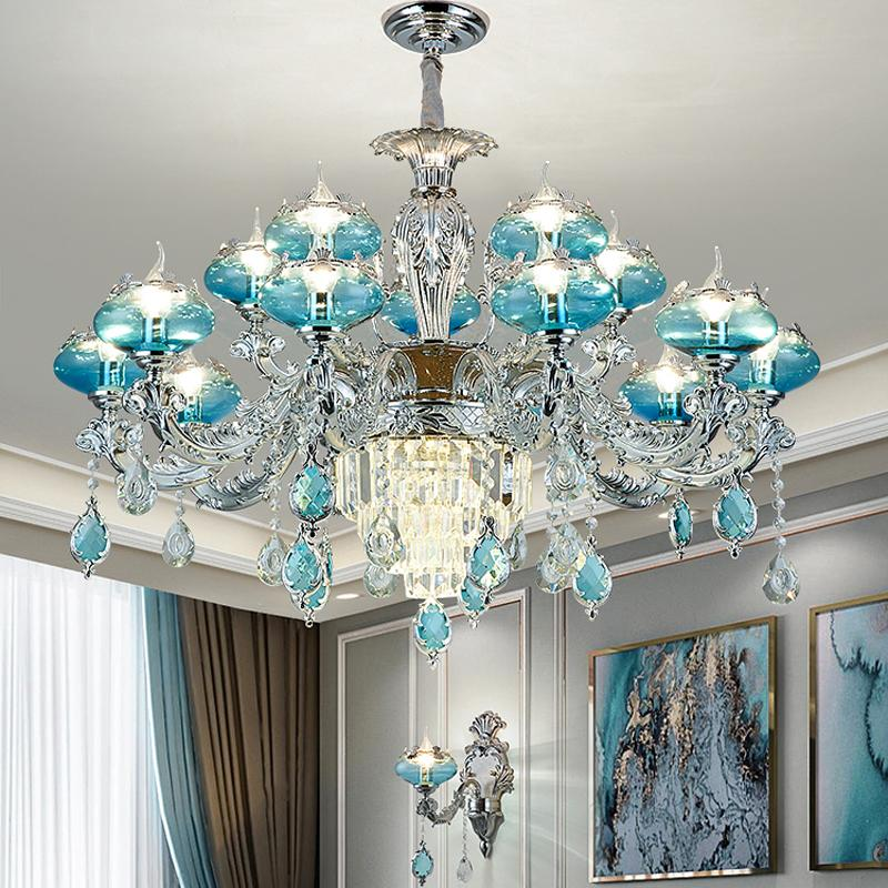 French Crystal Chandelier Lighting Modern Household Living Room Decoration Pendant Lamps European Bedroom Dining Room Crystal Light Fixtures