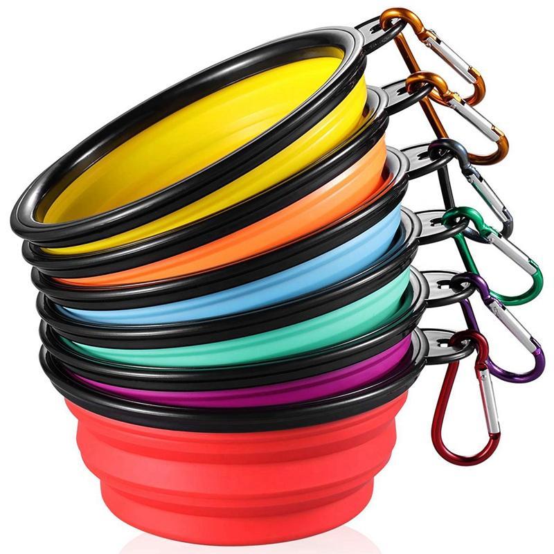 Katlanır Köpek Bowl [6-Pack] Gezi Taşınabilir Köpek Bowl (12oz) Silikon Katlanabilir Seyahat Bowl / Hayvan Yemi Bowl / Kedi Suluk / Silikon