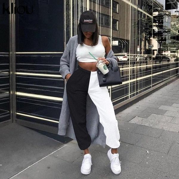 kadın egzersiz pantolonları yüksek bel blackwhite patchwork sportif pantolon harem yaz kadınlar rahat sportif streetwear pantolon gevşek 1rB4 #