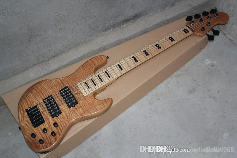 Wholesale maple neck Earth logo 6 string bass Burlywood electric bass with active pickups