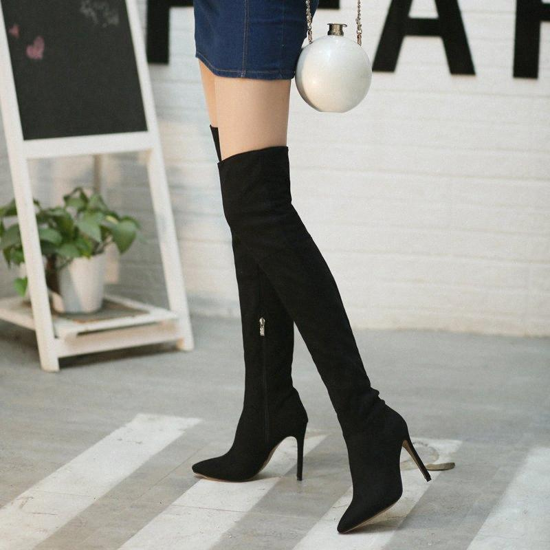 2019 Sexy Party Bottes Chaussures en cuir suédé femmes Cuissardes Talons Bottes extensible Flock d'hiver haut Botas noir Cuissardes Jp5f #