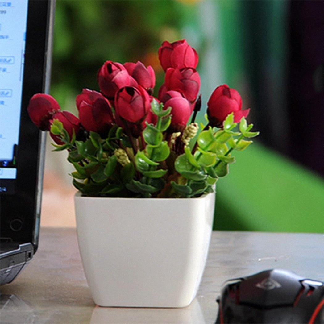 Fiore artificiale con vasi di plastica bianca Fiori Piante / Erba Wedding / Natale balcone bonsai Autunno Home Decor QmQa #