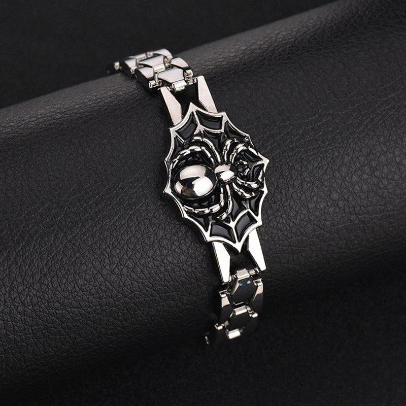 Личность Мужские часы Браслет Rock Большой паук шаблон Punk Стиль мужской браслет из нержавеющей стали ювелирные изделия аксессуары ББТ #