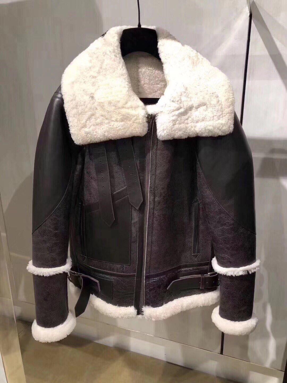 New autumn winter design fashion women's faux lamb fur patchwork letter print suede leather warm jacket coat plus size S M L XL