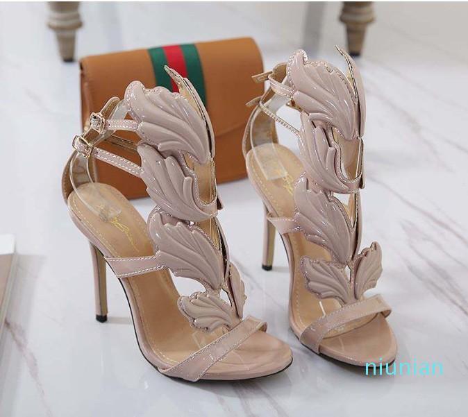 Sıcak satış-Seksi Yüksek Topuklar Alev Metal Yaprak Kanat Elbise Ayakkabı Kadınlar Sandalet Tasarımcı Ayakkabı Boyut 35 40 için