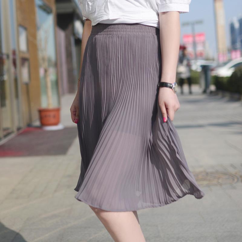 الصيف مطوي تنورة أنيقة الصلبة النساء خط الإمبراطورية عطلة ميدي تول التنورة اللون متعددة