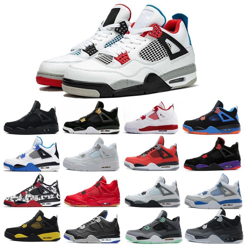 Bred Kara Kedi 4 4s Basketbol ayakkabı erkekler beyaz Çimento Encore Wings Ateş Kırmızı Singles Stilist Sneakers IV Saf Para Eğitmenler