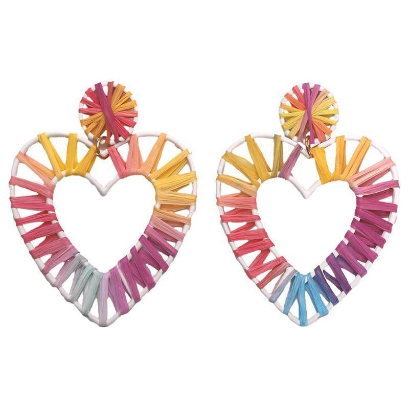 Bar Beads Handmade Cactus ciondola gli orecchini per le donne rafia del tessuto Dichiarazione attaccatura orecchini di goccia gioielli etnici