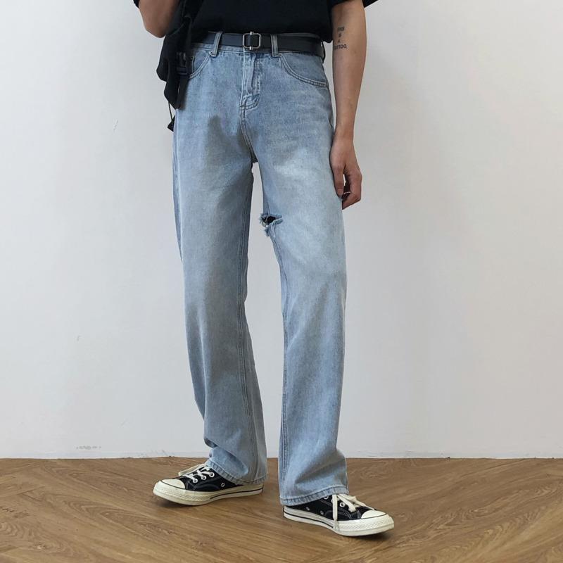 EWQ / erkek giyim kore tarzı her maç moda rahat kot erkek 2020 eğilim kot pantolon düz delik kot 9Y2670 gevşek