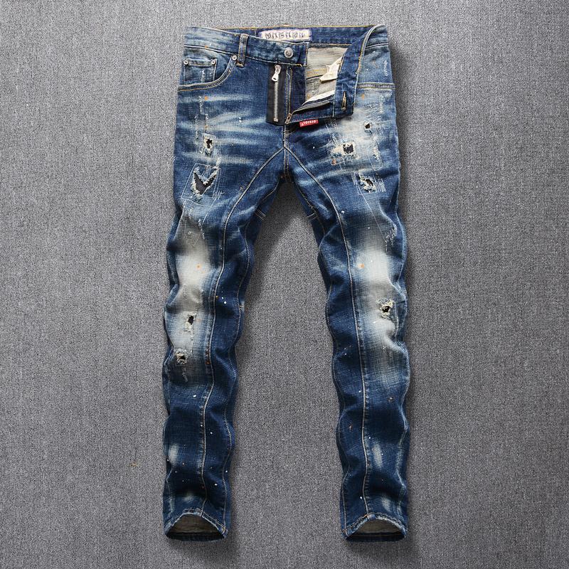 Moda Stile Italiano Jeans Uomo Retro Slim Fit Blu Elastic jeans strappati uomini punk pantaloni Spliced Hip Hop Designer Jeans Homme