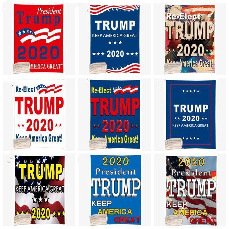 Trump Одеяло зимы малыши Плюшевая шаль 3D печати 150 * 130см сгущает Пледы сделать America Great Again Couch диван руно Wrap DHC145