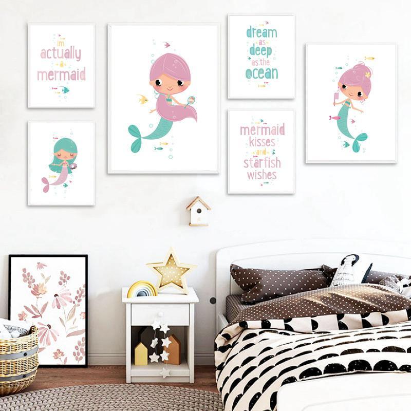Cartoon Mermaid Kinderzimmer-Wand-Kunst-Plakate und Drucke Baby-Geschenk-Bild Kind-Raum-Leinwand-Malerei Nordic-Dekor für Haus