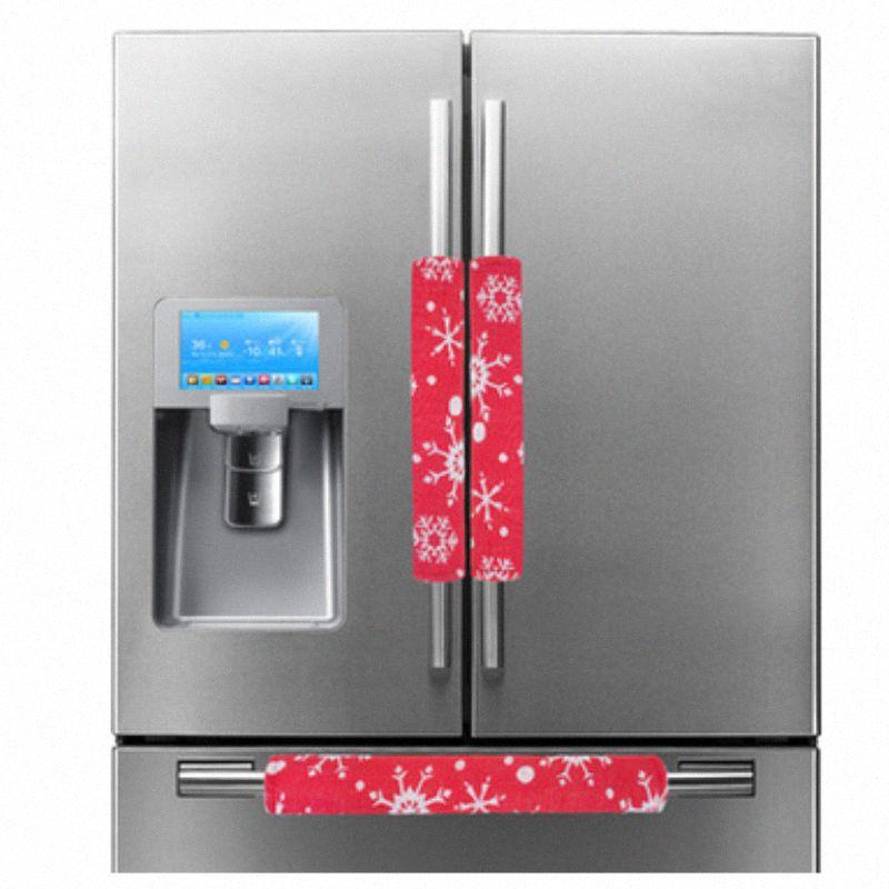3шт / набор рождественские украшения Холодильник Обложка Дверная ручка Кухонная техника украшения Нескользящие перчатки для холодильников Vthp #