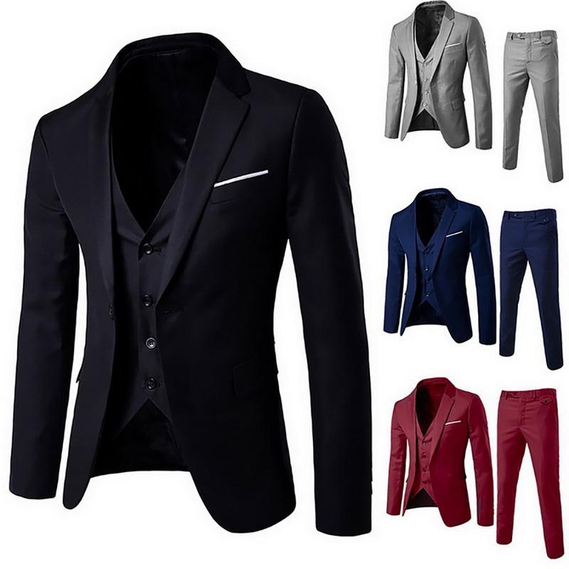 2020 Hombres 3 Piezas Blazers fija el juego de los hombres Negro Gris Rojo clásico de negocios Blazer + chaleco + pant conjuntos formales para la fiesta de la boda