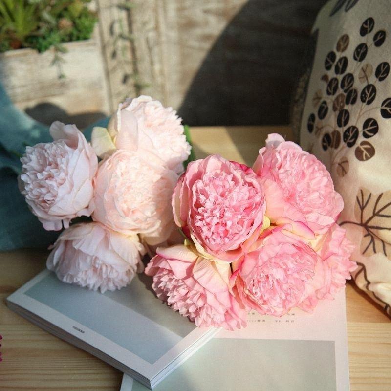 5Head 33 centimetri artificiale Peony Silk Flower Wedding Bouquet decorazione dell'ufficio per la casa falsi fiori per Matrimonio festa di compleanno Kxk3 #