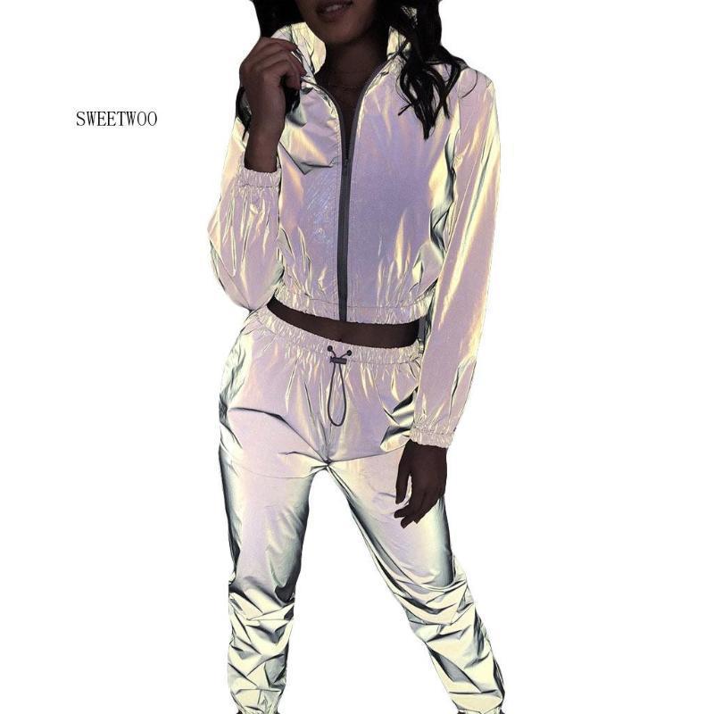 Мода Tracksuit для женщин вскользь 2 шт Идущих наборов Светоотражающего Набора с длинным рукавом Crop Топы + штаны Фитнес Спортивный