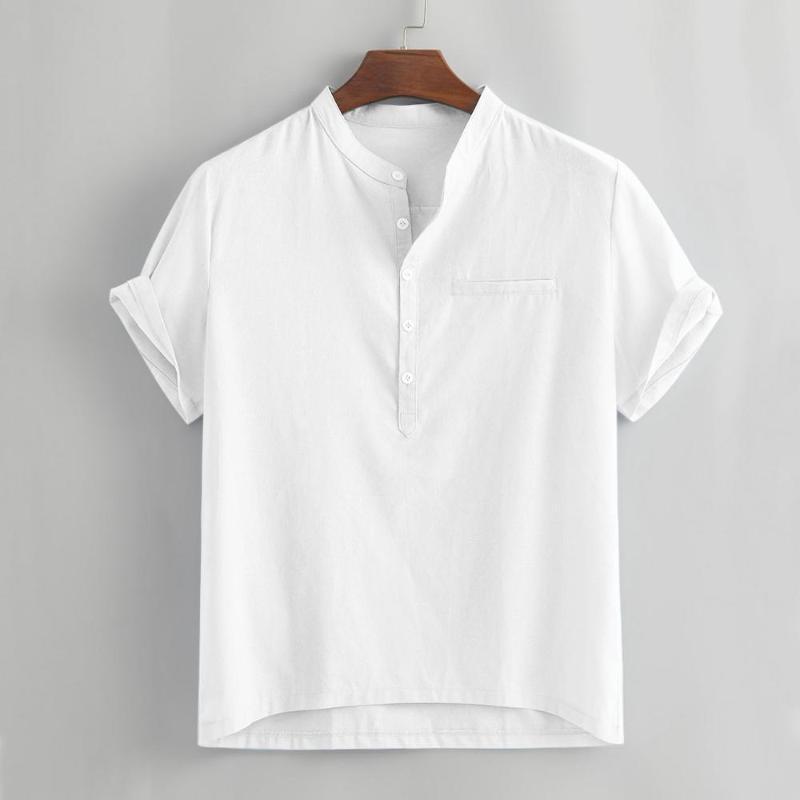 Männer Lässige Hemden Sommer Lose Baumwollmischung Festknopf Fake Tasche Kurzarm Hemd Tops Henry Kragen Bluse Kleidung