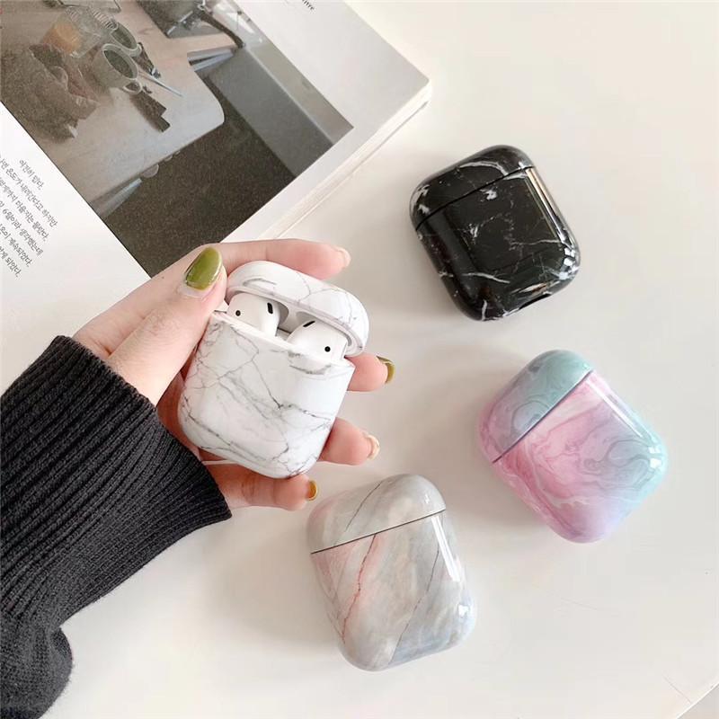 حالة الرخام 3D لAirPods 2 1 واقية ضد الصدمات البلاستيك غطاء الحقيبة القضية لAirPods 2