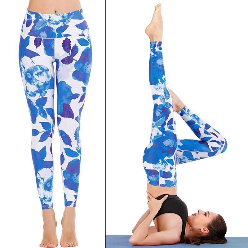 Damen Hohe Taille Fitness Yoga Leggings Knöchellangen Farbe Gedruckt Yoga Hose Hüfte Push Up Sexy Frauen Elastische Taille Hosen 2020 Alckt
