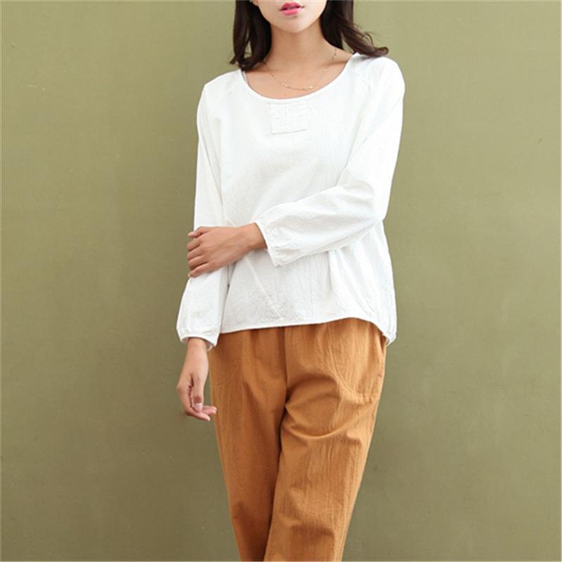T-shirt das mulheres Johnature mulheres camisetas Tops de linho de algodão de manga comprida casual 2021 outono o-pescoço solto breves moda