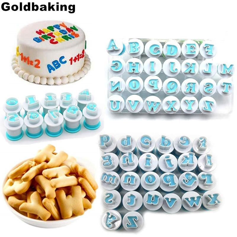 62PCS Alphabet Number Biscuit Mold Lowercase Uppercase Letter Cookie Stamp Embosser Cookie Cutter Fondant Cake Decorating Tool T200524