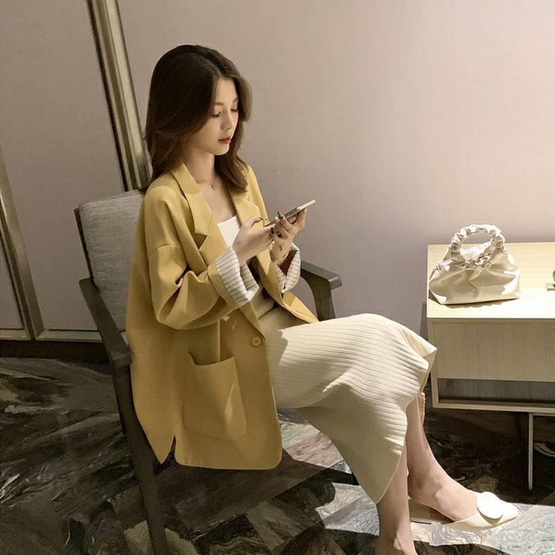 2020 осень Новой корейского стиля желтого пальто костюм пальто свободного верх все-матч шикарный нежный светский стиль женщин