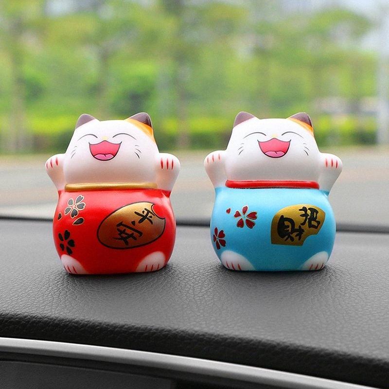 Car Ornament PVC Lucky Cat Decoration Doll Figure Automobile Interior Dashboard Decor Mascot Kids Gift Toys Cute Car Accessories My Co BPFJ#