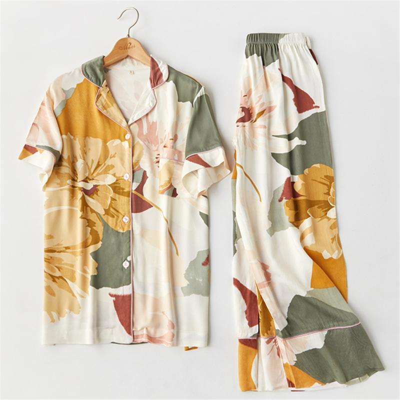 2020 Хлопок Цветочные печати Пижама с длинным рукавом пижамы женщин V-образным вырезом Sexy Pijama Mujer Loungewear Главная Одежда Sleep Set H887 Y200708