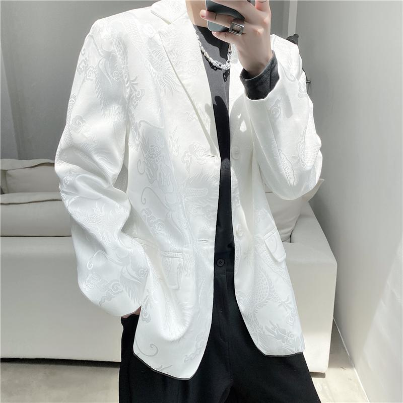 Brand Design Men Casual Suit Embossed Dragon White Jacket Fashion Streetwear Korean Japan style Male Coats Camisetas Hombre