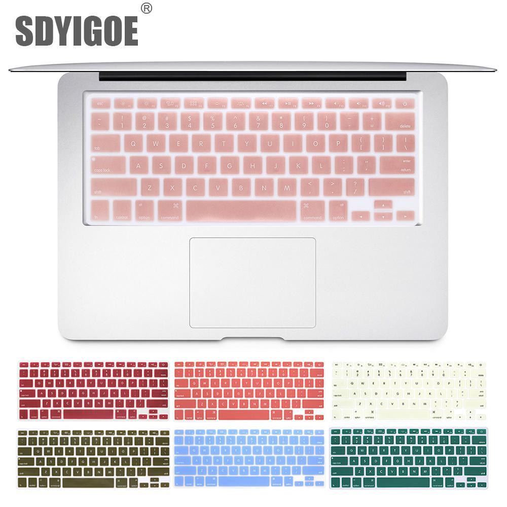 Laptop Klavye Kapak İçin Macbook Air 13 Pro 15 inç A1466 A1502 A1278 A1398 Bize Silikon Klavye Kapak Renk Koruyucu Film T190619