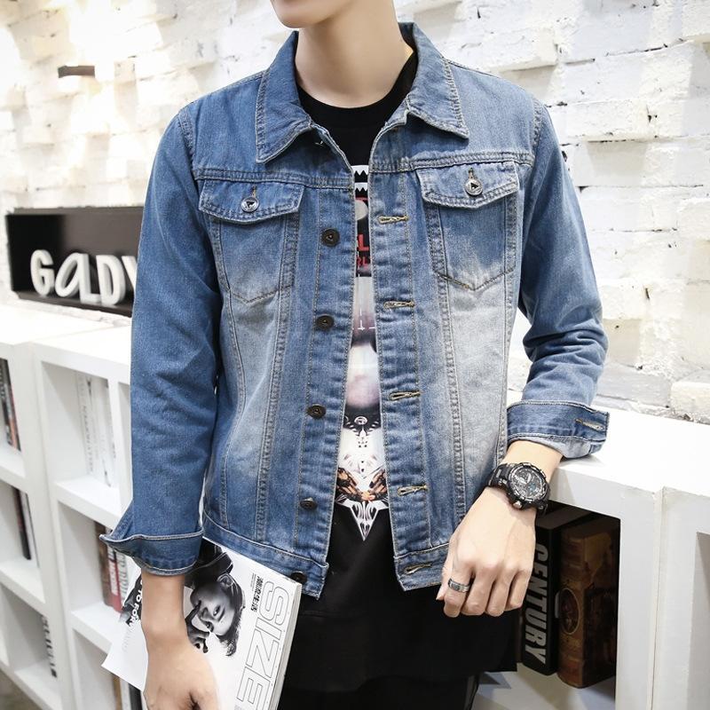 Gençler açık renk erkek kot gündelik delik üst Koreli ince ceket ceket moda Erkekler