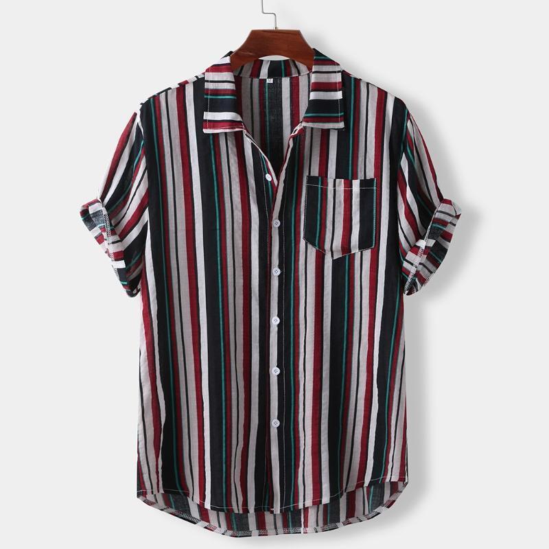 Hommes d'été Chemise à rayures Casual manches courtes chemises hawaïennes en vrac bande mince Refroidir Imprimer Shirt Hommes Robe Homme Vêtements Camisa