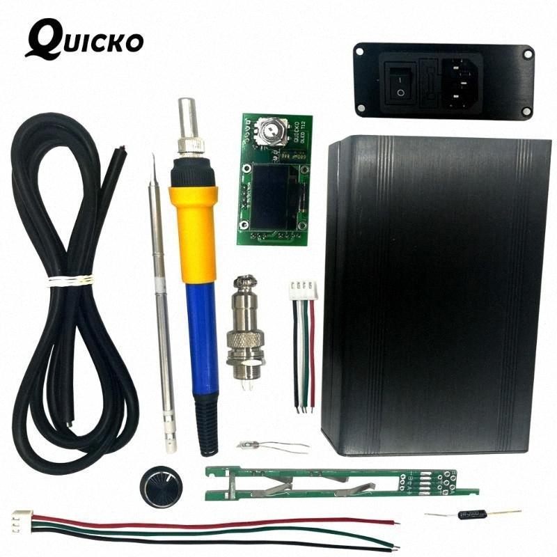 kits QUICKO Estação de solda DIY / STC T12 OLED Digital Temperature Controller / T12-907 alça caso Meatal com ferro de solda T12-K XWtU #