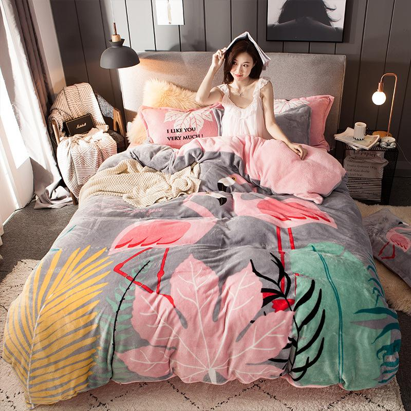 Large Floral Flannel Four-Piece Set Thick Double-Sided Warm Fleece Quilt Cover Bed Sheet Supplies 1 Wholesale Add Box L Duvet Cover