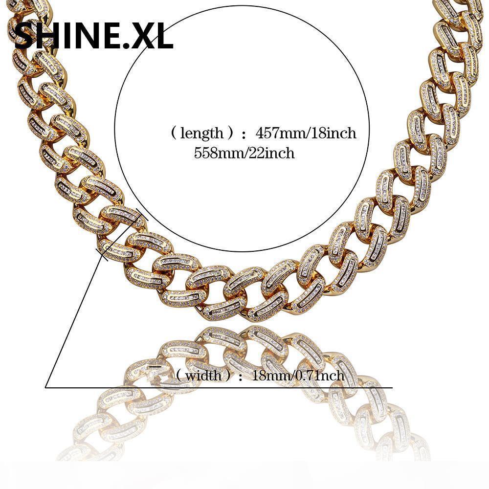 Collana di rame oro argento placcato Colore Micro CZ lastricata in pietra 18 millimetri catena di Hip Hop Men Jewelry collane 18inch 22inch