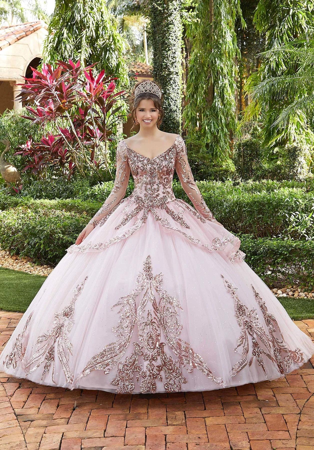 Sweet 16 Quinceanera Abiti rosa fuori dalla spalla principessa Puffy 2021 scollo a V a maniche lunghe in pizzo Tiered sera convenzionale degli abiti di AL6773