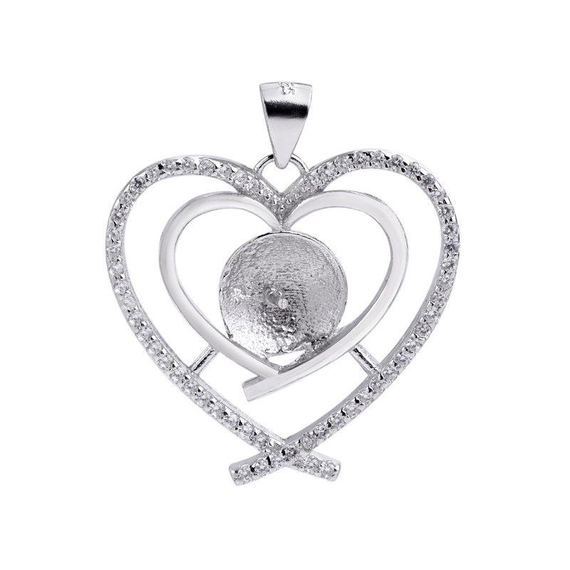 DIY regalo 925 de plata doble corazón colgante zirconia cúbico rodeado por Pearl hallazgos de 5 Piezas