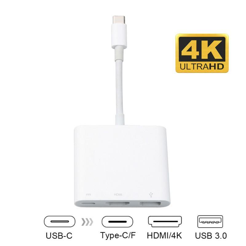 Type C-adaptateur femelle Hub USB de type C Adaptateur 3-en-1 hub USB C à HDMI USB3.0 avec chargeur Convertisseur pour nouveau MacBook