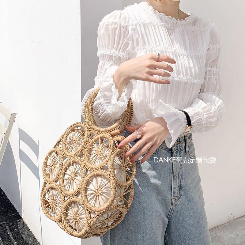 moda rattan cava paglia rotondo in vimini intrecciato le donne borse della spalla spiaggia d'estate borse crossbody signora casuale borse bali CX200716