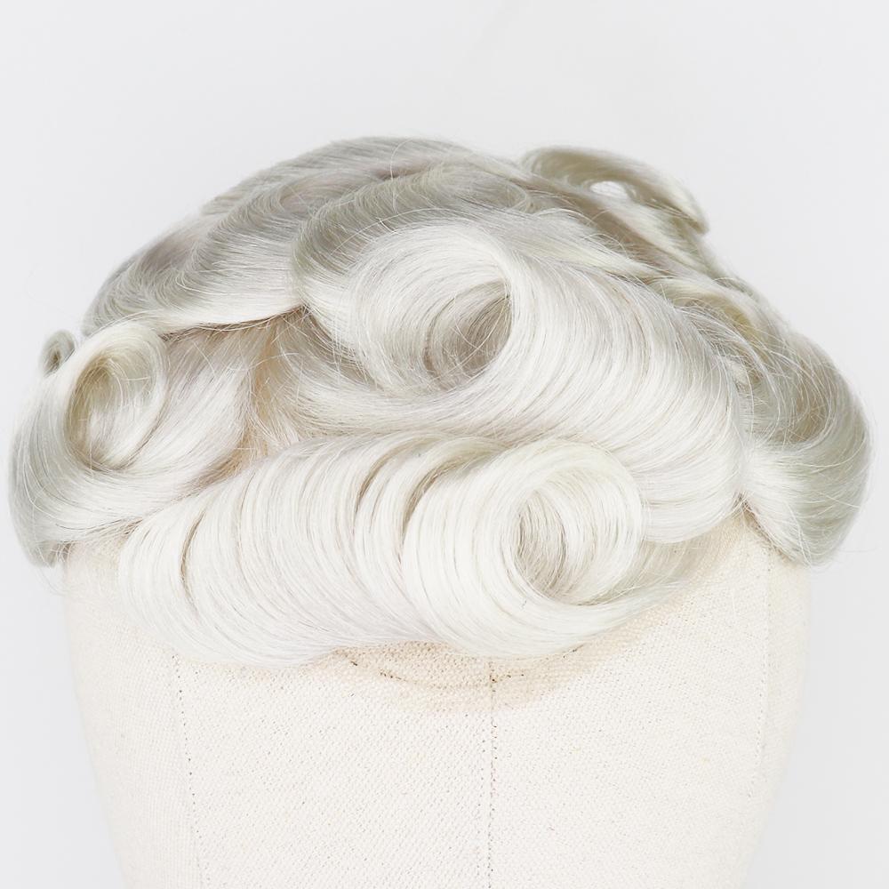 El más reciente Bisoñes Tipo de cabello rubio atado Humano para reemplazo Hombres pelo brasileño de Remy sistema completo 8x10 mano de la PU para hombre Bisoñes postizo