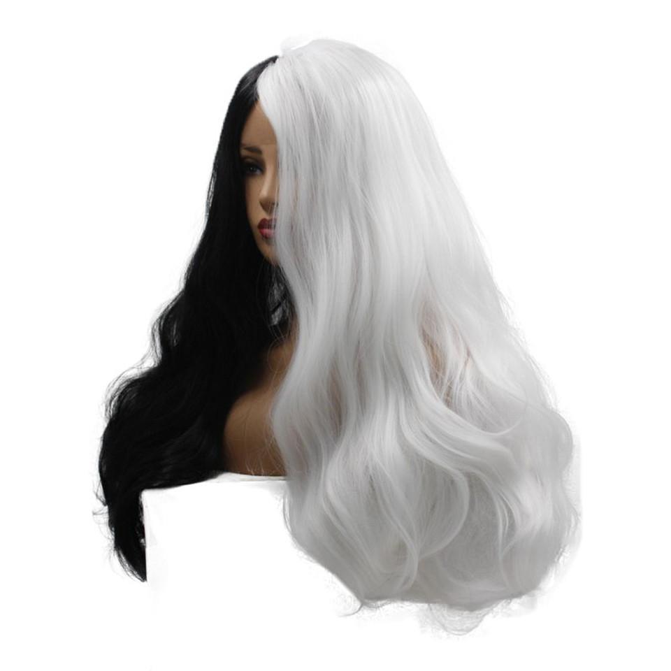 Uzun Dalgalı Sentetik Dantel Açık Peruk ile Siyah Kadın Cosplay Peruk İçin Beyaz Peruk harajuku Dantel Ön saç