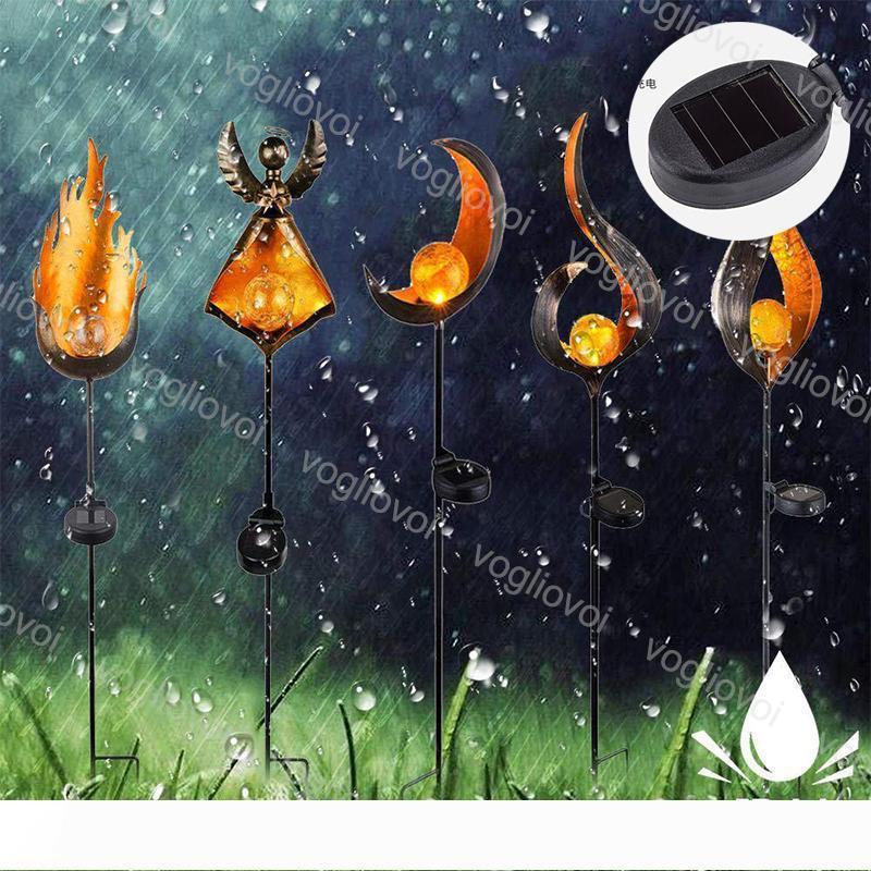Солнечный свет сада пламени Железный ABS ночника Теплый белый Открытый ip65 Для Тропинка Courtyard Сад Газон Ландшафтный DHL